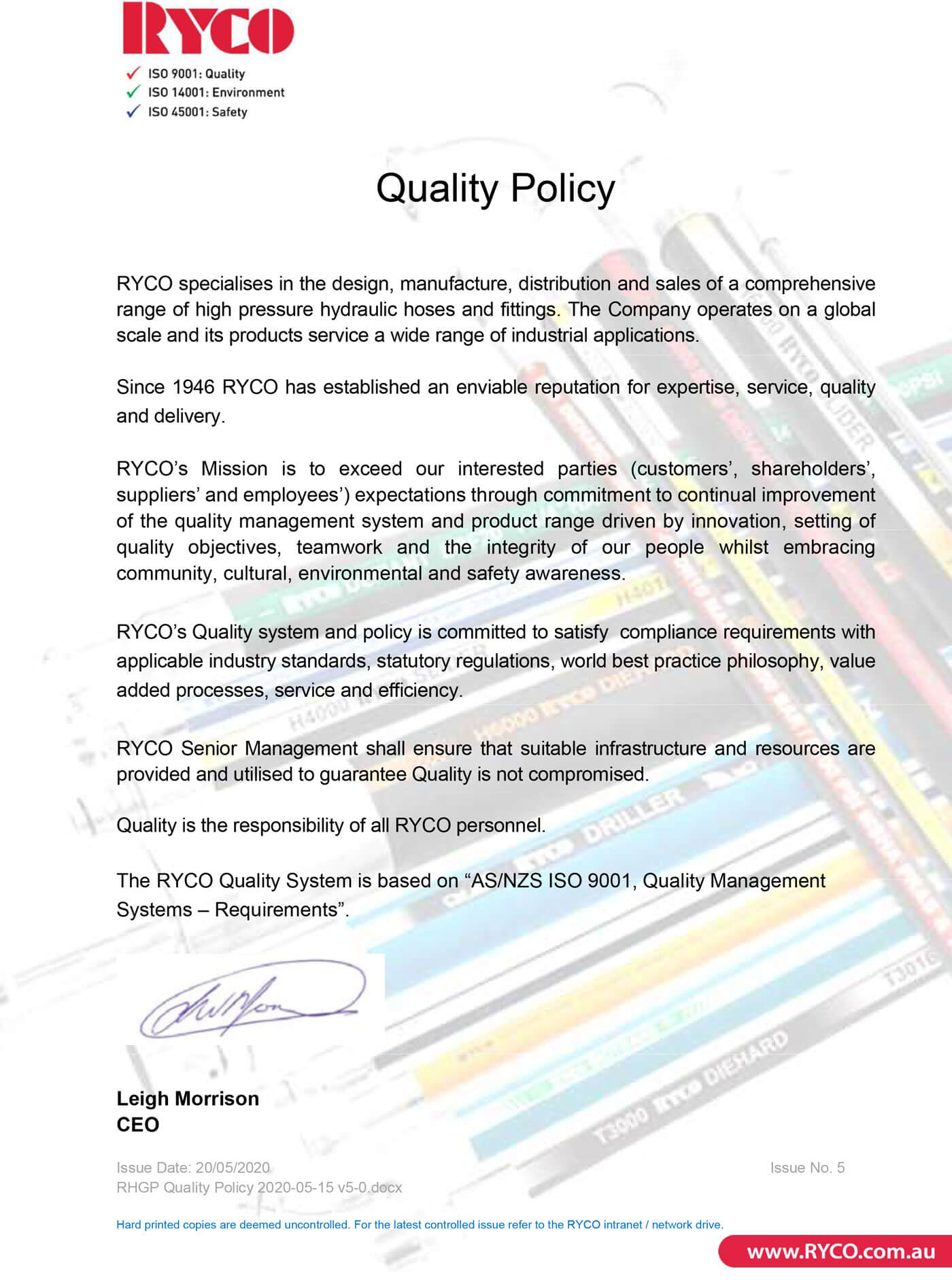 RYCO Our Policies Quality Policy